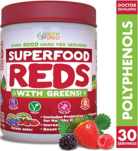 Superfood Vital Reds with Greens Juice Powder by Feel Great 365, Doctor Formulated,100% Non-GMO, Whole Food Multivitamin Powder - Fruits, Vegetables, Probiotics, Digestive Enzymes & Polyphenols (Best Anti Aging Supplements On The Market)