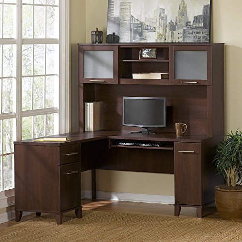 Somerset 71W L Shaped Desk with Hutch in Mocha Cherry by Bush Furniture
