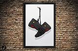 Air Jordan 14 'Last Shot', 'Candy Cane', 'Black Toe' Illustration, Vintage Hanging Kicks -Large Giclee Sneaker Wall Art 12' x 18', 13' x 19', 18' x 24', 24' x 36'
