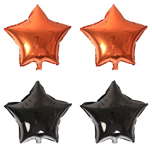 Zebratown 12Pcs/lot 18 Inch Star Party Mylar Balloon Black and Orange Foil Balloons For Halloween (How Do You Make A Halloween Ghost)
