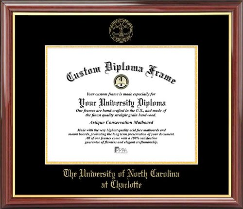 Laminated Visuals Univ. of North Carolina at Charlotte 49ers - Embossed Seal - Mahogany Gold Trim - Diploma - Carolina Seal North