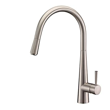 Ruvati RVF1221BN Single Handle Pull Down Kitchen Faucet, Stainless Steel