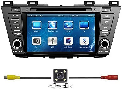 Bluelotus8 Car GPS Navigation System Car Stereo DVD Player For MAZDA 5 2012 2013 2014 With Bluetooth TV Radio Steering Wheel Control RDS Sd usb AUX IN Free Backup Camera US Map