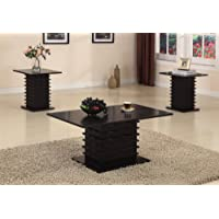 Black Wood Finish Wave Design Occasional Table Set Coffee Table & 2 End Tables