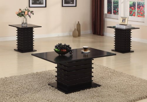 Kings Brand Furniture Black Wood Finish Wave Design Occasional Table Set Coffee Table & 2 End Tables ()