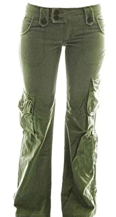 3df8a77268a85 BYWX Women Plus Size Loose Straight Leg Multiple Pockets Cargo Pants Army  Green US XS