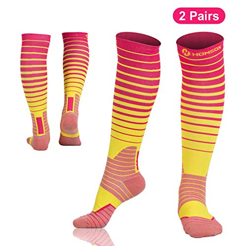 2 Pairs Compression Socks for Women & Men(20-30mmHg) - Graduated Compression Athletic Sports Stocking for Running, Crossfit, Travel, Pregnancy, Nurse, Medical, Reduce Fatigue, Swelling, Shin - Reduce Fatigue