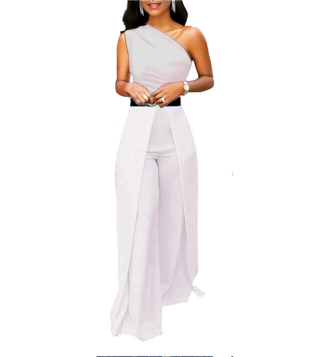 Chic-Lover Women's Sexy One Off Shoulder High Waisted Wide Leg Jumpsuits Romper Without Belt White S