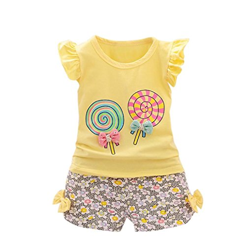 G-real Toddler Baby Girls Cute Cartoon Lolly Bow T-Shirt Ruffle Tops+Floral Shorts 2pcs Outfits For 1-4T (Yellow, 3T)