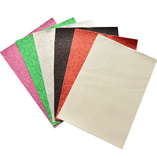 Glitter Faux Leather Fabric Sheets- 6 Pieces Assorted Colors A4 Size Precut Shiny Superfine Canvas Back for Bag Making, Hat Making, Hair Crafts Making, Jewelry Making, Sewing, Shoe Making