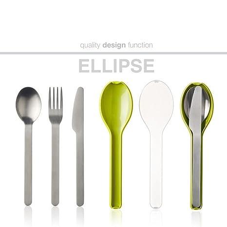 Rosti Mepal 105760091200 Set de Cubiertos Ellipse Acero Inoxidable/Polipropileno limón 19,5 x