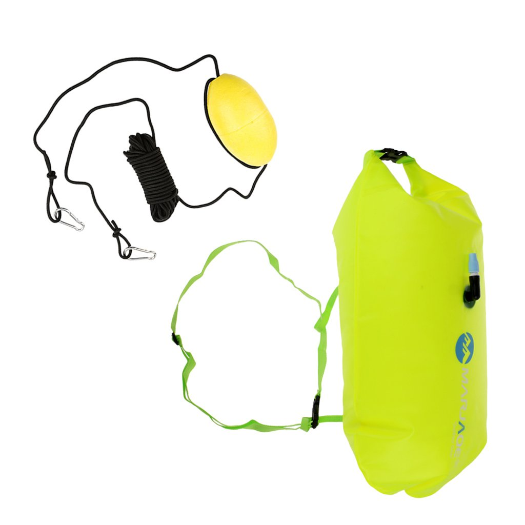 Homyl Inflatable Safety Swim Tow Line Float Dry Bag for Open Water Swimming Sailing Drifting