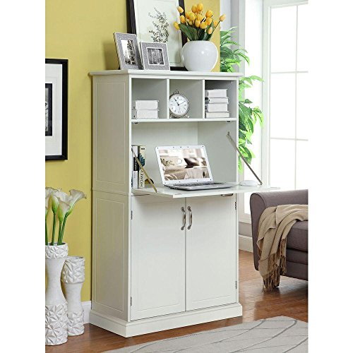 Amelia Storage Wooden Secretary Desk in White