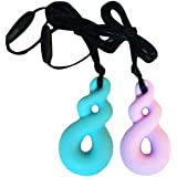 Chew Necklace 2Pcs Chewelry Necklace Calming for Autism ADHD Oral Motor Biting Teething Needs(Light Blue + Purple)
