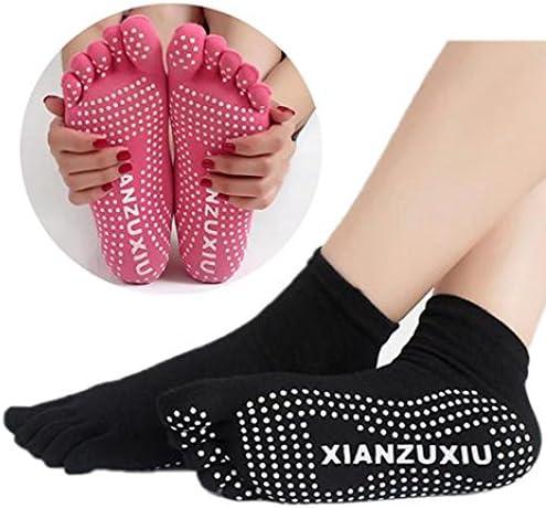 女性5つの足のヨガジムダンススポーツエクササイズノンスリップマッサージフィットネスウォームソックス