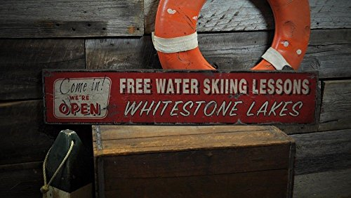 The Lizton Sign Shop Custom Lake House Water Ski Wooden Sign - 7.25 x 36 Inches