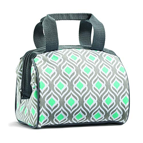 Fit & Fresh Charlotte Insulated Lunch Bag for Women, Cooler Bag Thermal Tote Bag for Work/Office/Picnic/Beach, Gray Aqua - Pack Lunch Insulated