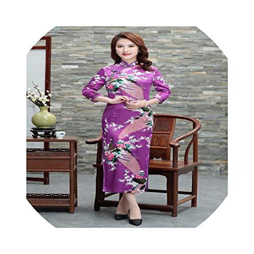 Women Chinese Flower&Peacock Elegant Qipao Vintage Vestidos Long Cheongsam,3 Quarter Purple,S