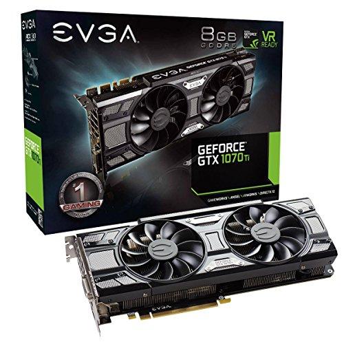 EVGA GeForce GTX 1070 Ti SC GAMING ACX 3.0 Black Edition, 8GB GDDR5, EVGA OCX Scanner OC, White LED, DX12OSD Support (PXOC) Graphics Card 08G-P4-5671-KR (Renewed) ()