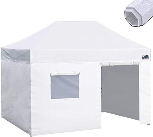 Eurmax Premium 10×15 Pop up Canopy Instant Canopies Outdoor Party Tent Shade with 4 Removable Enclosure Zipper End Sidewalls Walls Roller Bag White