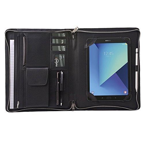 Leather Tablet Portfolio Case, Padfolio Folder Organizer with Zipper for Samsung Galaxy Tab S3 9.7