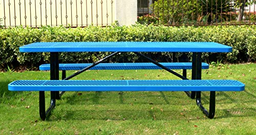8′ Rectangular Picnic Table, Expanded Metal, Blue (96″ Long)
