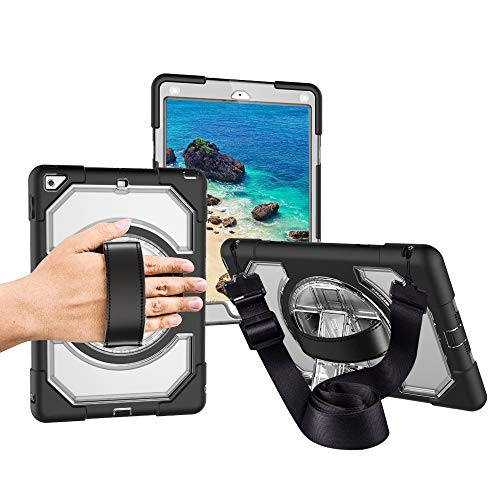 Miesherk Case for New iPad 2018/2017 with Hand Strap Neck Strap, Shockproof Drop Protection Cover with 360 Rotating Handle Built-in Stand for New iPad 9.7 inch 2018/2017 Transparent