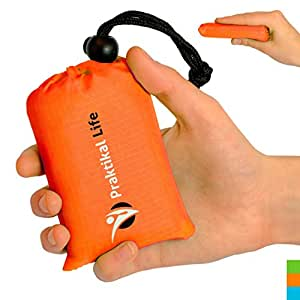 Mini Pocket Outdoor Blanket , Groud / Seat Cover Made From Premium Soft and Lightweight Waterproof Material Ideal for Traveling / Hiking / Cycling with Practical Pouch (Orange)
