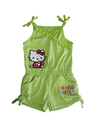 Sanrio Little Girls Green Hello Kitty Ruffle Drawstring Detail Romper 4-6X
