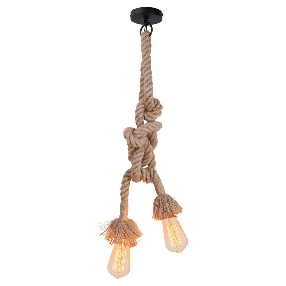 Meilleure vente Lustre en corde de chanvre AC 220V E27 Vintage Style Rustique Luminaire Rétro Lampe Suspension en Corde chanvre pour Restaurant Bar Cafe Lighting Utilisation ( double douille, ampoule n'est pas inclus ) (1M) Chao Zan Lighting