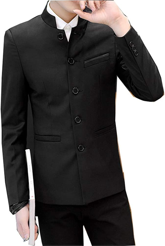 Black Mandarin Collar Fullback Formal Vest with Shirt and Button Cover Options