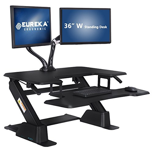 [Limited Edition] Eureka Ergonomic Height-Adjustable Standing Desk Converter, Sit-to-Stand Workstation, 36-Inch Wide, SGS Top Rated, Black