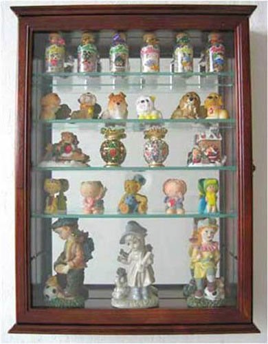Walnut Wall Curio Cabinet Display Case Shadow Box Home Accents For Figurines