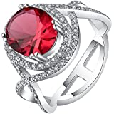 18K White Gold Filled Gemstone Wedding Engagement Band Ring Jewelry Size 7-9 New ERAWAN (7 #, Red)