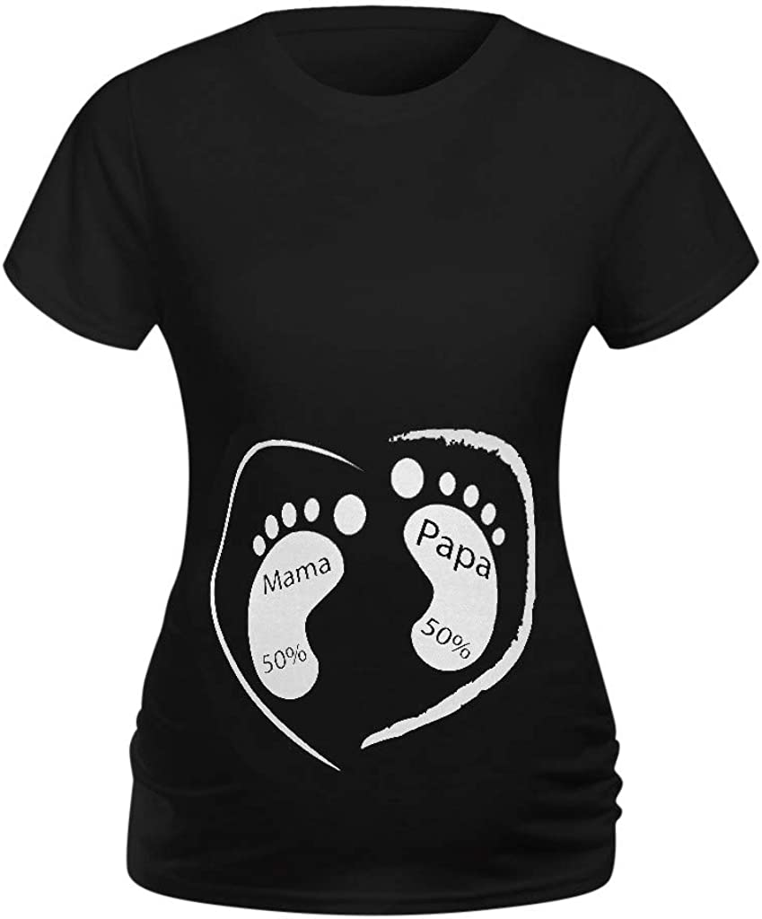 LC/_ Baby Is Coming Letters Short Sleeve Loose Maternity Pregnant T-shirt Top P