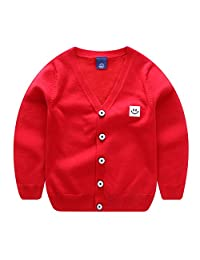 ALLAIBB Little Boys Sweater Cardigan Solid Colors Knitted Outwear