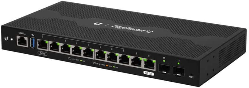 Ubiquiti Networks EdgeRouter 12, 10-Port Gigabit Router with PoE Passthrough and 2 SFP Ports (ER-12)