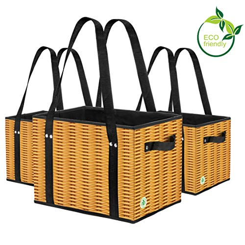 Green BD's Reusable Grocery Bags. Large, Stain Resistant & Spillover Proof. Eco Friendly Collapsible Shopping Box Bags with Laminated Wicker Print Exterior. (Set of 3) -