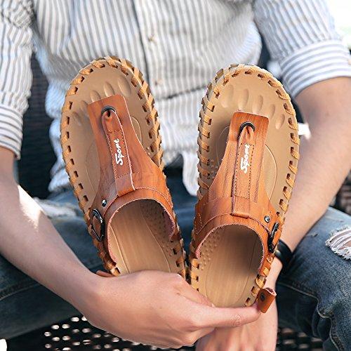Xing Lin Sandalias De Hombre Zapatillas De Verano Nuevo Macho Flip Flop Juventud Sandalias Y Zapatillas De Playa Transpirable Zapatos Zapatos Light Brown