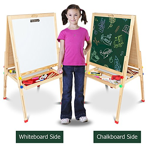 ShowMaven Double Sided Magnetic Kid's Art Painting Easel,Children's Day Gift,All-in-One Wooden Blackboard for Small Toddlers,with Paper Roll and (2 Sided Child Easel)