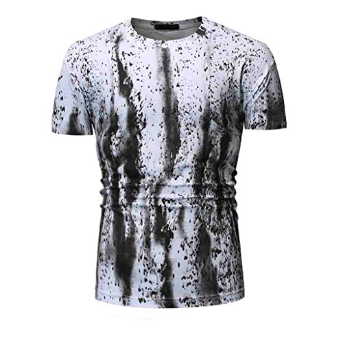 - YOcheerful Men's Summer Tops Casual Printed Short Sleeve Shirts Loose Tops Fashion Blouses(White, S)