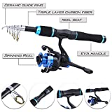 YONGZHI Kids Fishing Pole with Spinning Reels,Telescopic Fishing Rod,Shoulder Pocket,Manual,Full Kits Tackle Box for Travel Freshwater Bass Trout Fishing