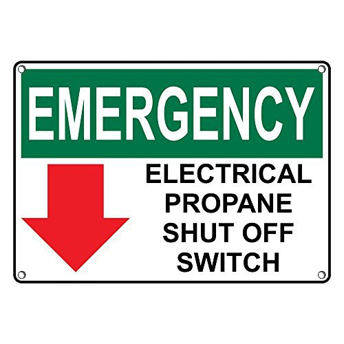 Weatherproof Plastic OSHA EMERGENCY Electrical Propane Shut Off Switch Sign with English Text and Symbol (Switch Symbol)
