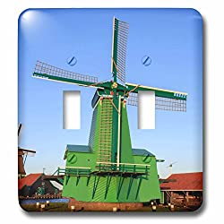3dRose Danita Delimont - Windmills - Famous windmills of Zaanse Schans, Amsterdam, Holland - Light Switch Covers - double toggle switch (lsp_257781_2)