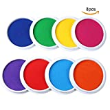 yellow stamp pad - MoloTAR Craft Large Ink Pad Stamps Partner Diy Color,8 Colors Rainbow Finger Ink pad for kids (pack of 8)