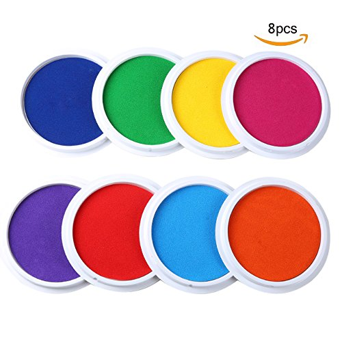 MoloTAR Craft Large Ink Pad Stamps Partner Diy Color,8 Colors Rainbow Finger Ink pad for kids (pack of 8) - Craft Pad