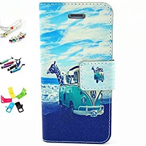 iPhone 5S Case, WKell Beach Pattern PU Leather Full Body Case with Card Slot and Stylus Anti-Dust Plug and Stand for iPhone 5/5S