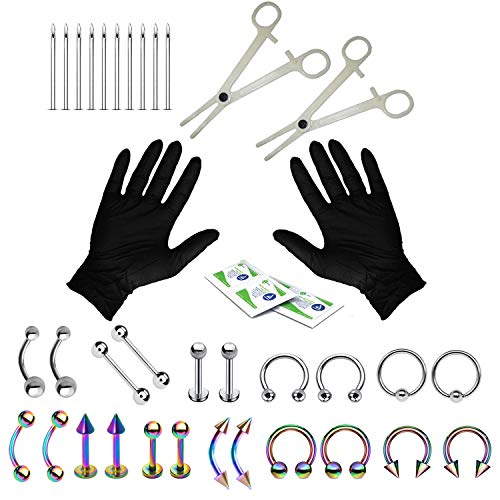 BodyJ4You 36PC PRO Piercing Kit Silvertone Rainbow 14G 16G Belly Ring Tongue Tragus Nipple Nose (Kit Monroe Piercing)