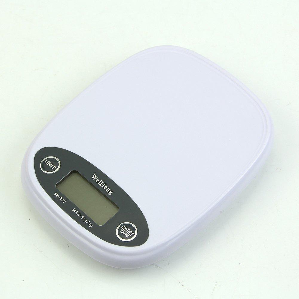 HeroNeo Kitchen Scale 7kg/1g 5kg Digital Food Diet Postal Weight Balance g lb Backlight (White)