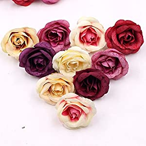 30pcs 4cm Silk Rose Artificial Flower Wedding Home Furnishings DIY Wreath Sheets Handicrafts Simulation Fake Flowers 1